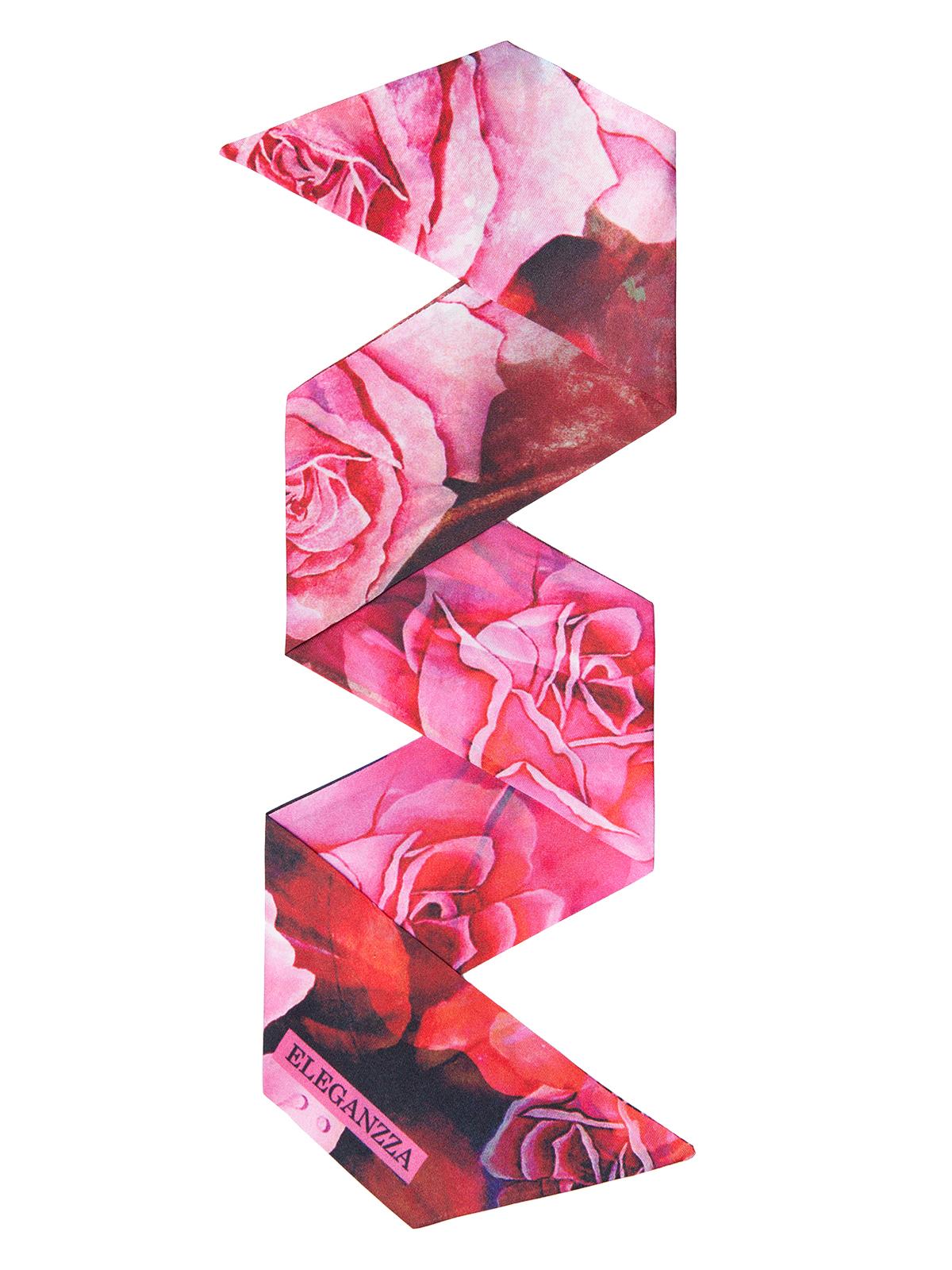 Шарф Eleganzza Шарф из шелка розового цвета с цветочным принтом