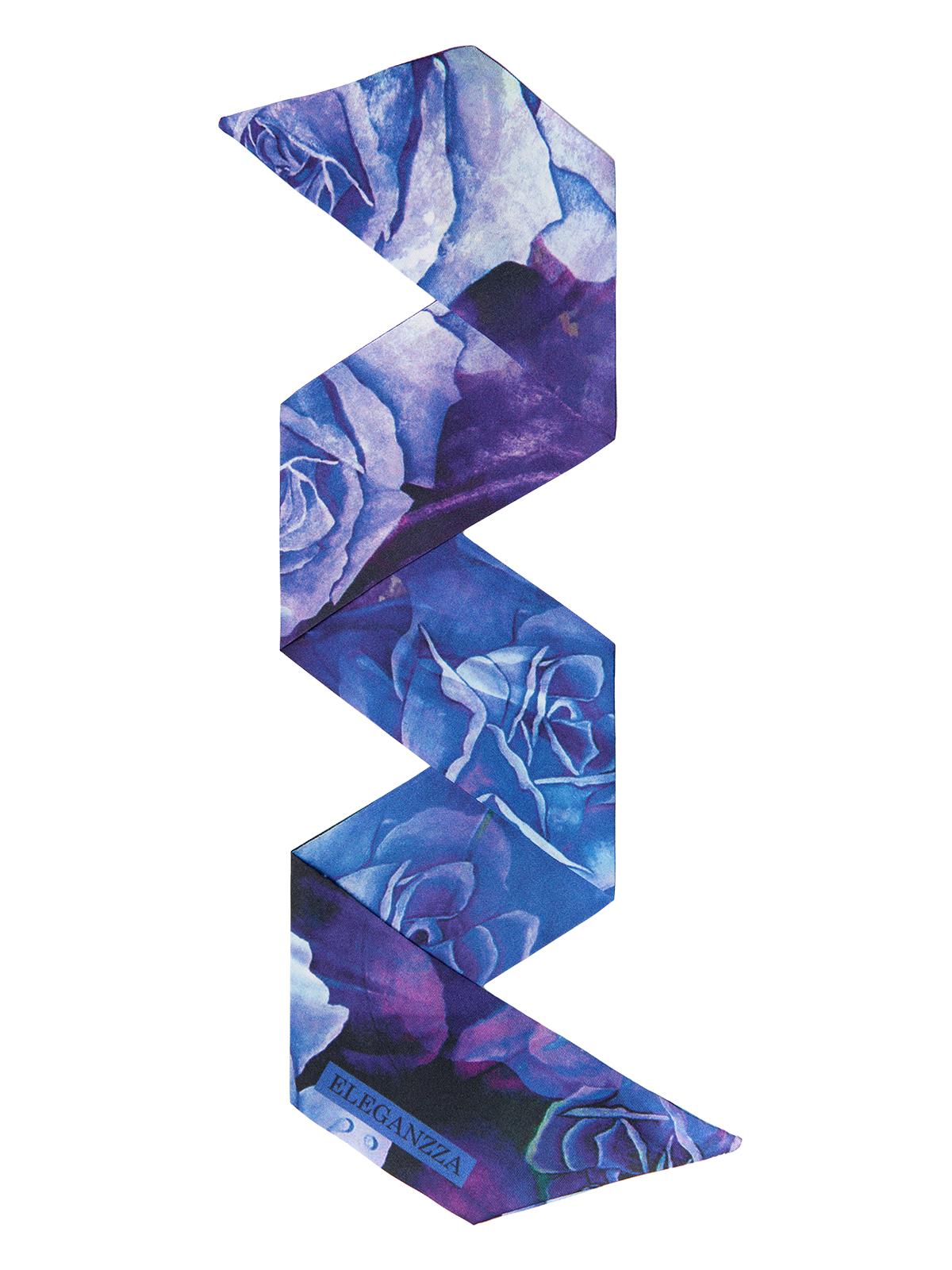 Шарф Eleganzza Шарф из шелка синего цвета с цветочным принтом