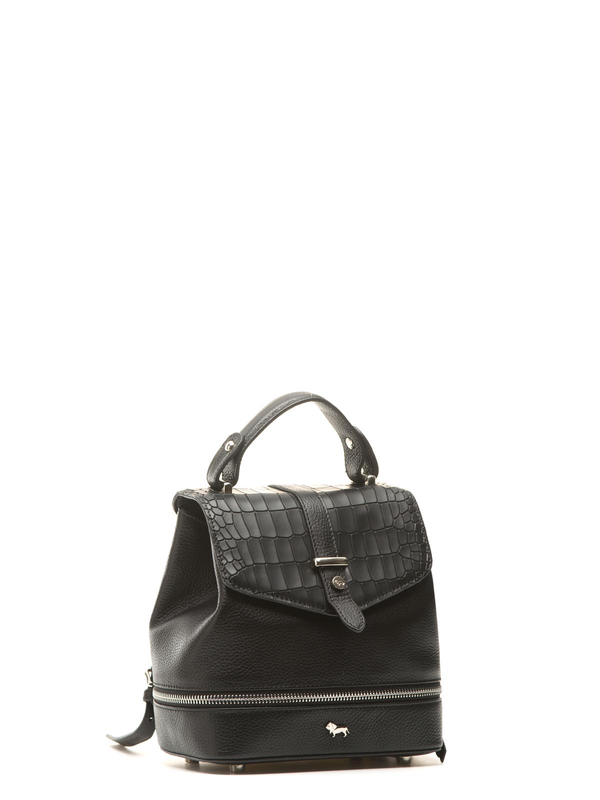 Рюкзак из фактурной кожи черного цвета с молнией, Черный