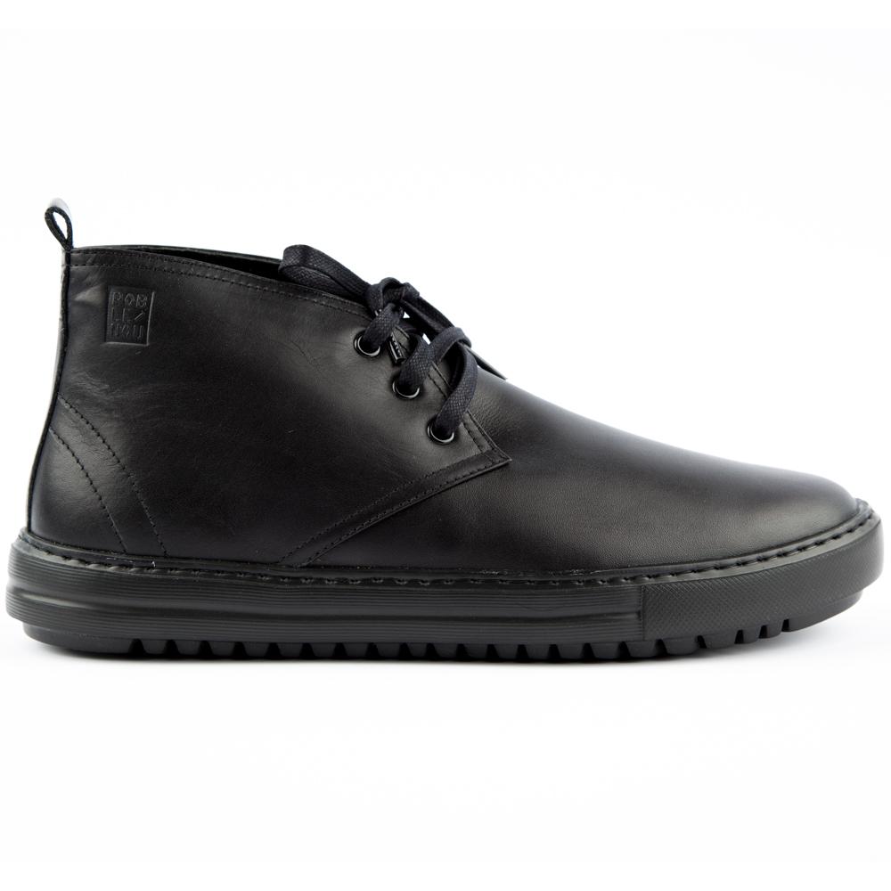 Ботинки кожаные чёрного цвета с мехом