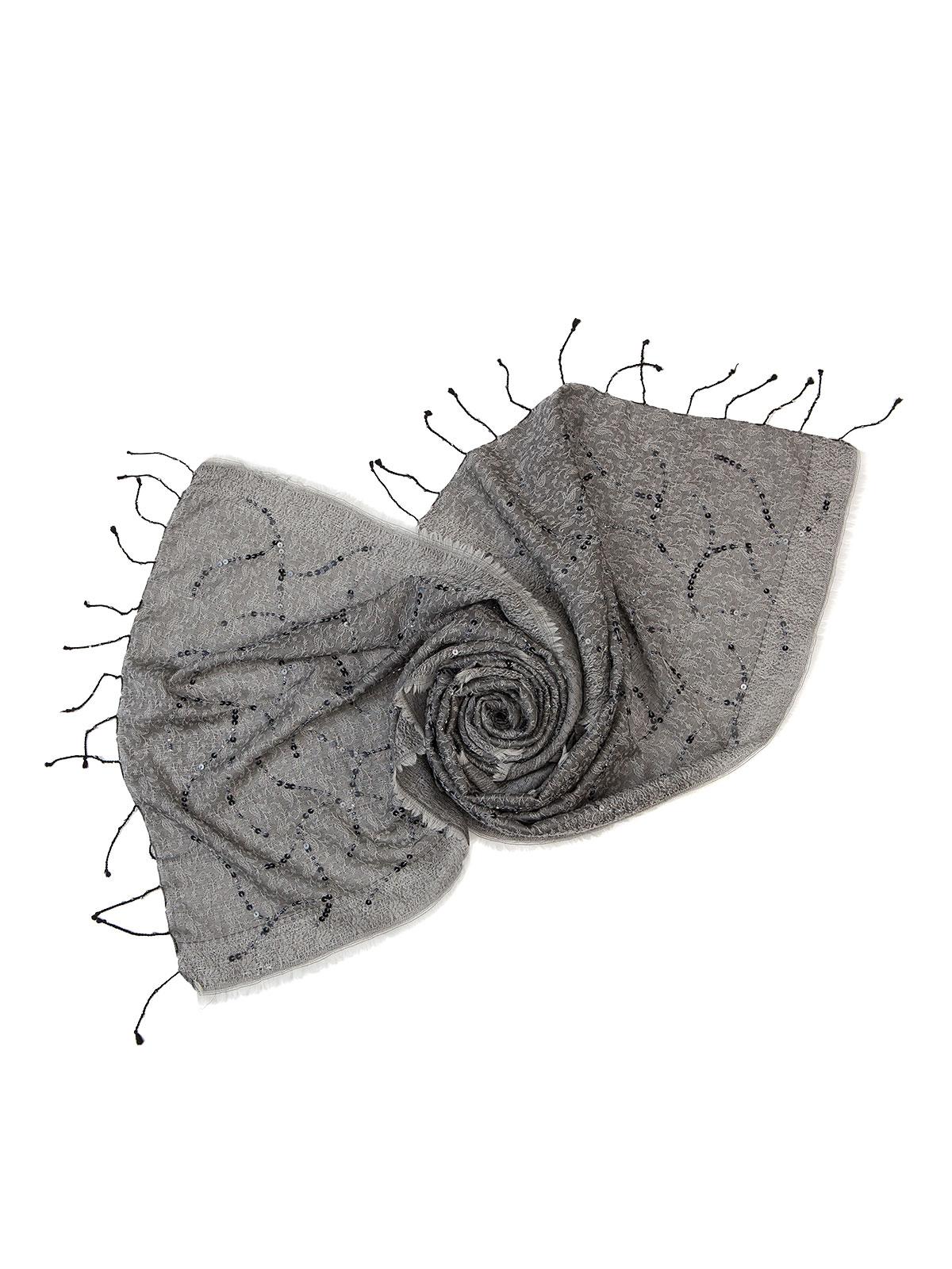 Шарф Eleganzza Палантин из шелка и шерсти серого цвета
