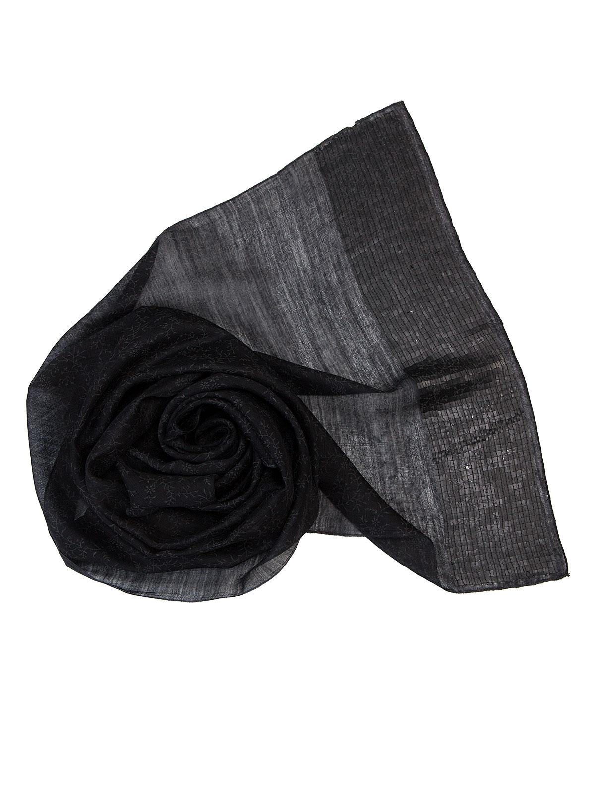 Шарф Eleganzza Палантин из шелка и шерсти темно-серого цвета